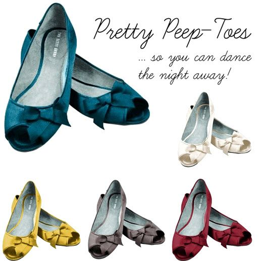 Loving these peeptoe ballet flats from Dessy for the wedding reception