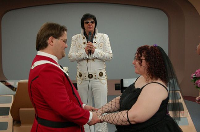 This bride and groom are combining themed weddings. Star Trek meets Elvis.