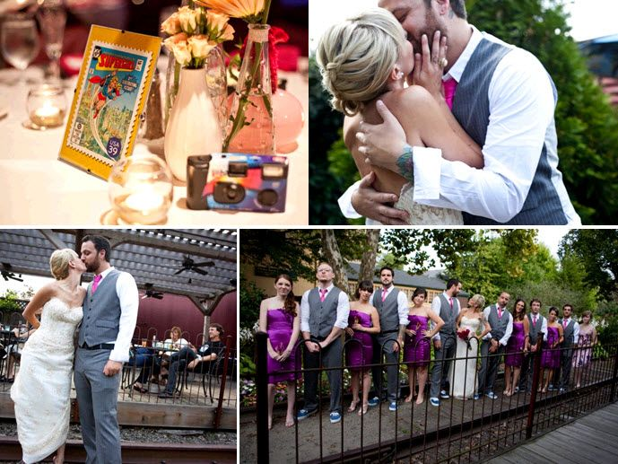 Comic book themed wedding reception tables; bride and groom kiss after saying I Do