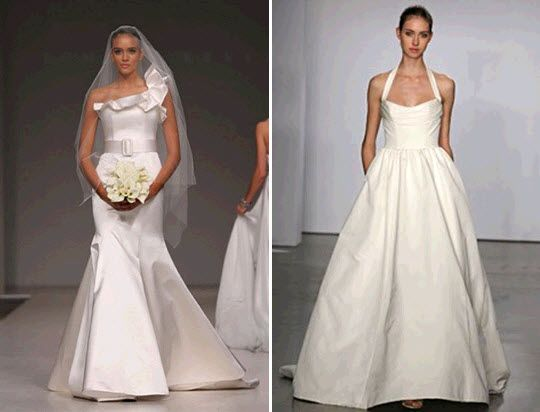 Asymmetric ruffled shoulder mermaid Romona Keveza wedding dress; Priscilla of Boston Vineyard weddin