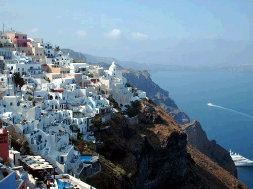 Gorgeous cliffside view of Santorini, Greece
