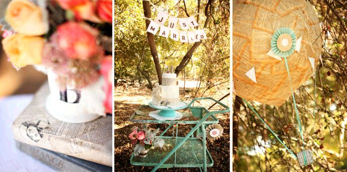 Handmade Just Married sign hangs over vintage-chic wedding cake