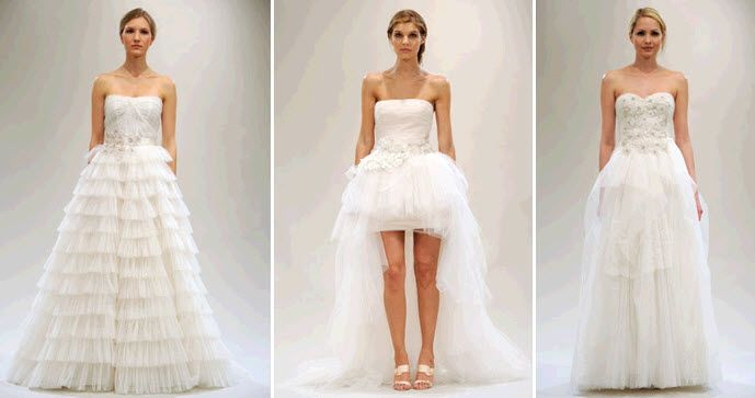 White wedding dresses from Reem Acra's Spring 2011 line- gorgeous strapless a-lines and a cute baby