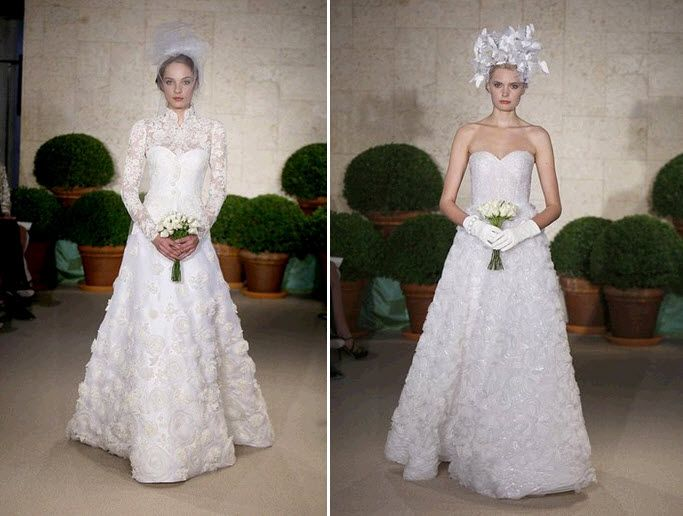 Modest lace Oscar de la Renta wedding dress with high neck and long sleeves; strapless lace a-line w