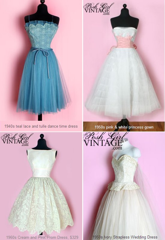 These beautiful tea-length wedding dresses are perfect for the vintage bride. They are blue, white,