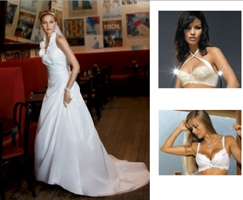 This beautiful white wedding dress has a halter neckline and bras to match it include convertible br