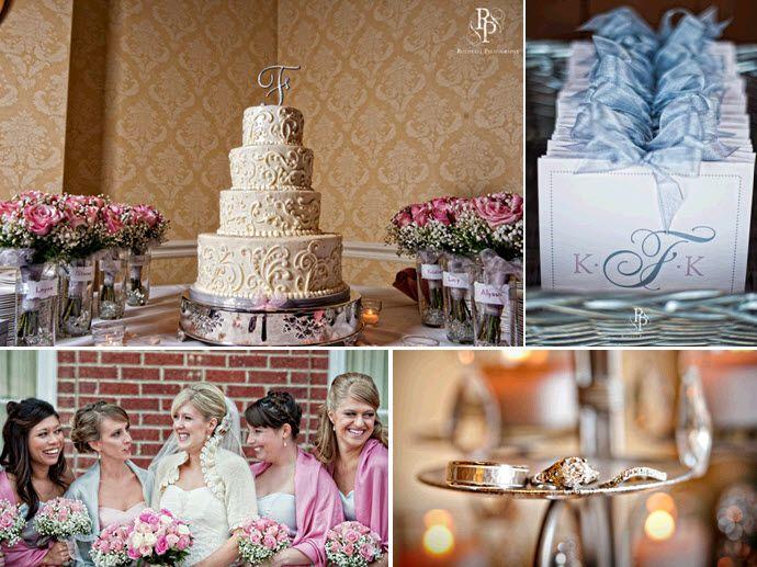 Beautiful ivory four tier wedding cake; ivory, light blue and blush pink wedding programs