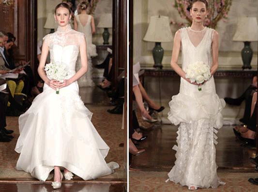 Ivory vintage chic Carolina Herrera wedding dress sheath style and