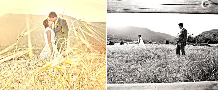 Bride and groom kiss after saying I Do in open field during sunset- vintage-style wedding photograph