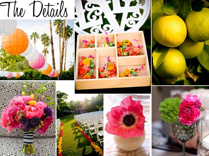 Pink, yellow, green and orange flowers and decor is perfect for a retro Miami-inspired wedding