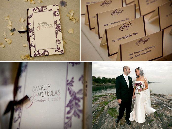 Ivory and eggplant purple letterpress wedding stationery- escort cards, wedding programs, and menus