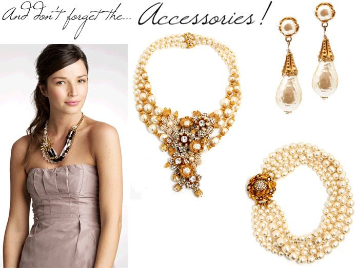 Gorgeous gold and pearl bridal accessories from J.Crew's limited edition collection with Miriam Hask