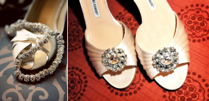 Stunning blush satin open toe Manolo bridal heels with rhinestone brooches