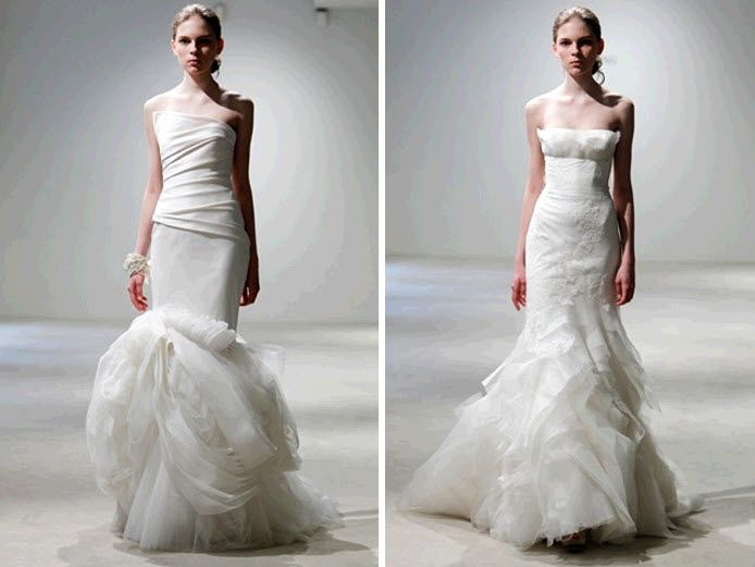 White modern mermaid wedding dresses by Vera Wang