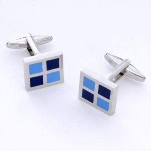 Chic blue and silver square cufflinks (packaged in an engraved case) for your dad on Father's Day