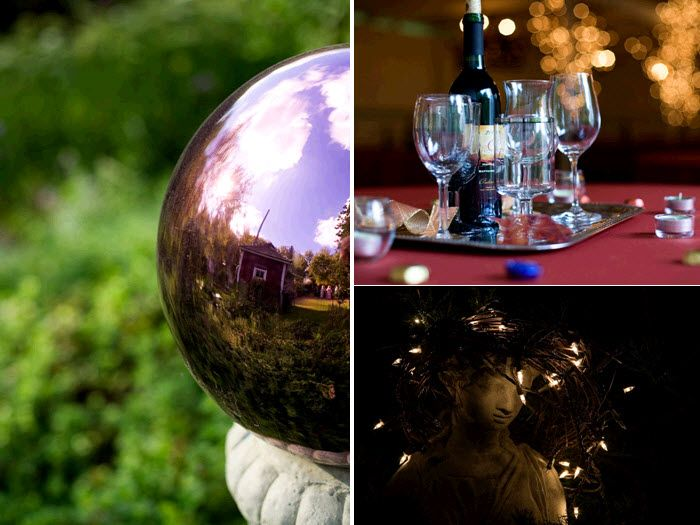 Rustic fall MN wedding details at quaint farm- silver garden globe, personalized wine bottles, Itali