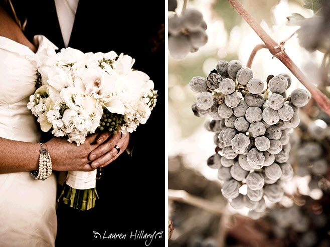 Bride holds all white bridal bouquet groom in black tux stunning frosty