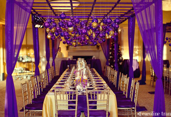 Stunning Reception Room Decorated Head To Toe With Purple And Gold Wedding Color Palette