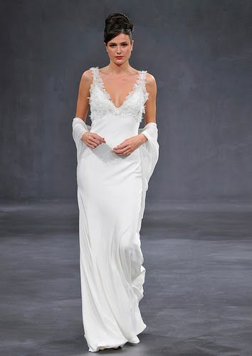 Sheath style v-neck white wedding dress with touches of lace
