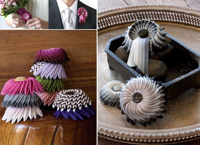Gorgeous grossgrain ribbon boutonnieres for your groom on the wedding day!