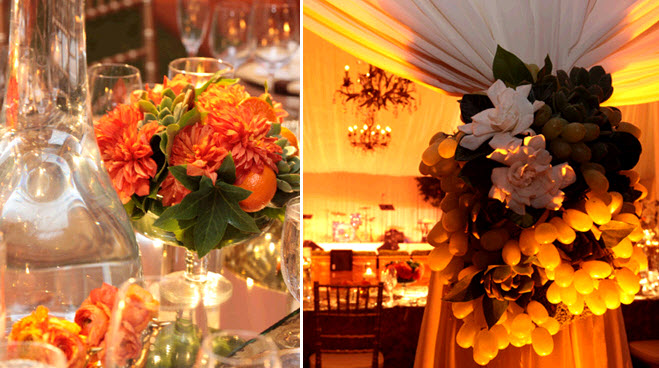 Bright orange flowers with green succulents for table centerpieces