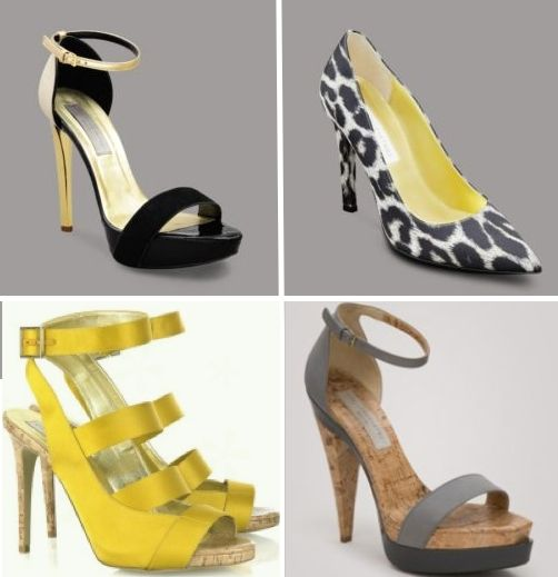 Sexy black, yellow, grey, and leopard print bridal and bridesmaids heels, by Stella McCartney