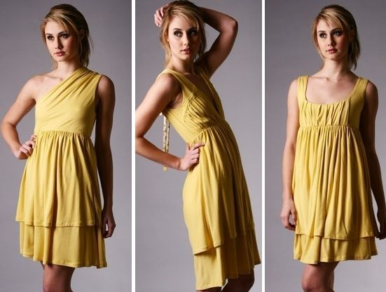 This bamboo jersey bridesmaid dress in sunshine yellow is perfect for a summer wedding