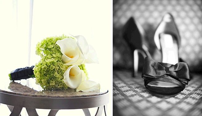 Fresh and modern bridal bouquet made from ivory calla lilies, and green hydrangeas