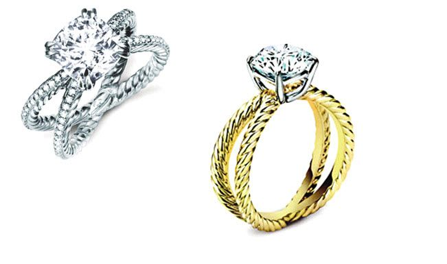 Stunning engagement rings with crossover bands (yellow gold and platinum) from David Yurman