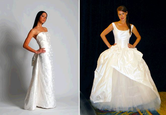 Eco-chic couture wedding dresses- scoop neck full ballgown wedding dress with clouds of tulle skirt