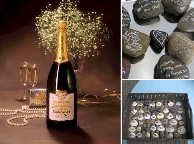 Have guests sign a jeroboam bottle of champagne, river rocks or seashells for your wedding guestbook