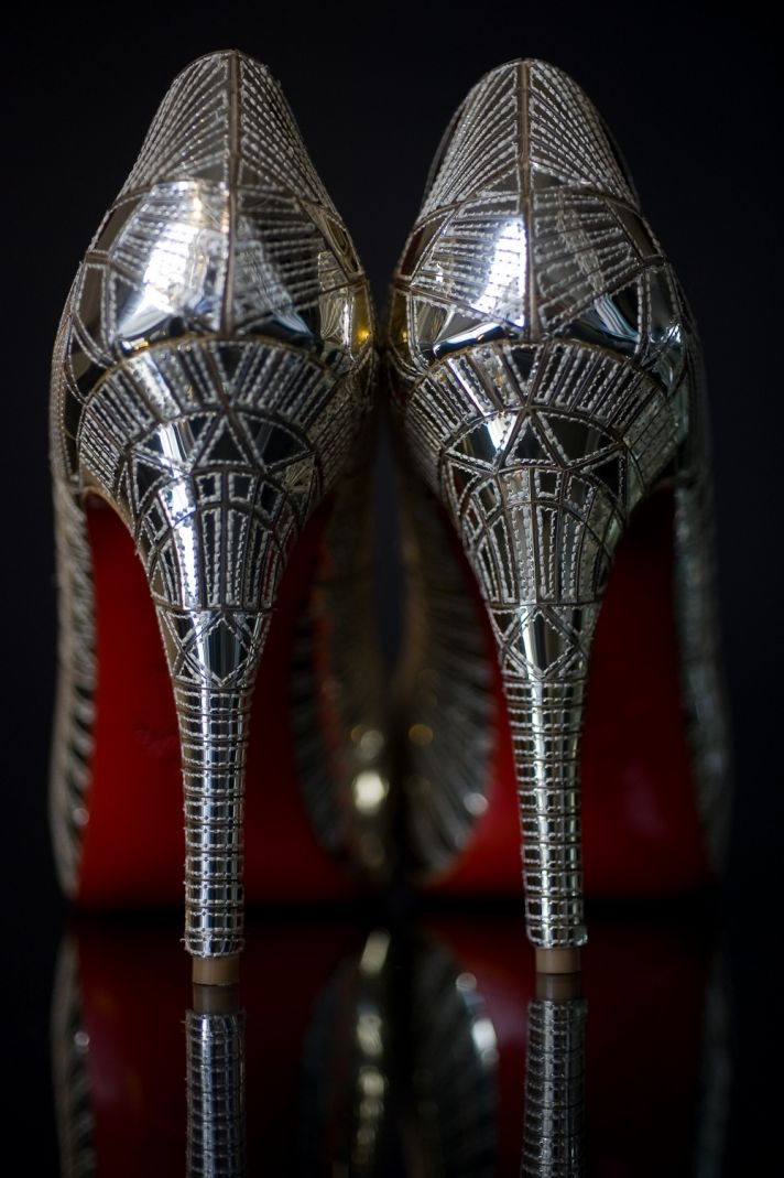 The drool-worthy wedding day Louboutin bridal heels from the back
