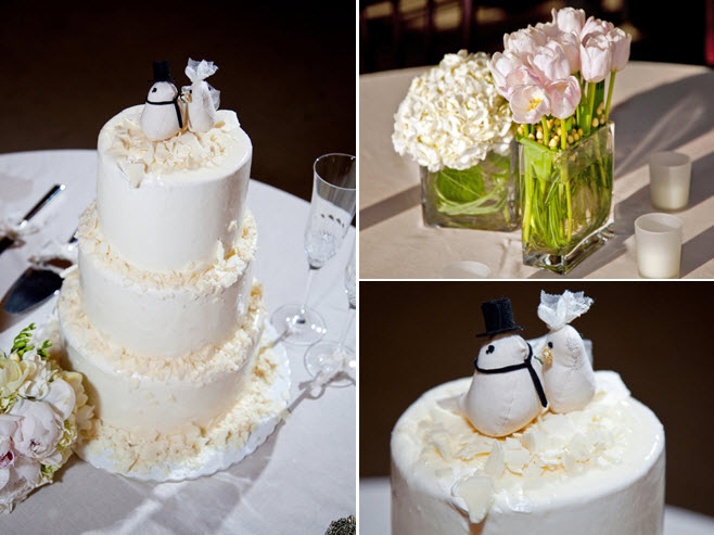 Classic three tier ivory wedding cake with adorable bride and groom wedding