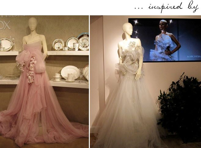 Stunning couture gowns by Marchesa inspire china patterns in new collection with Lenox