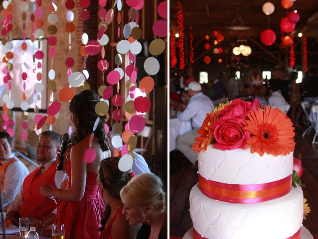 DIY chandeliers with couple's initials; white wedding cake with hot pink and orange flowers