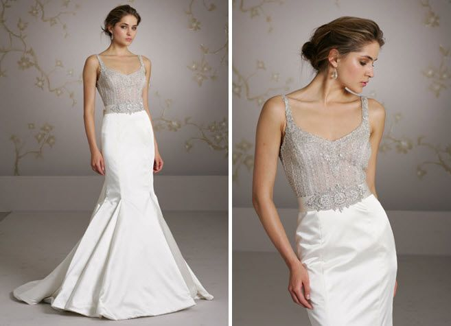 Gorgeous silver beaded bodice illusion wedding dress with jeweled belt, mermaid silhouette