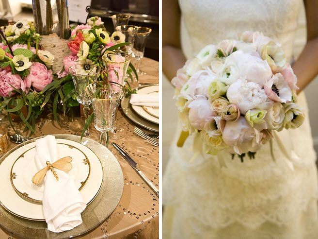 Chic and posh wedding reception tablescape featuring white anemone centerpieces
