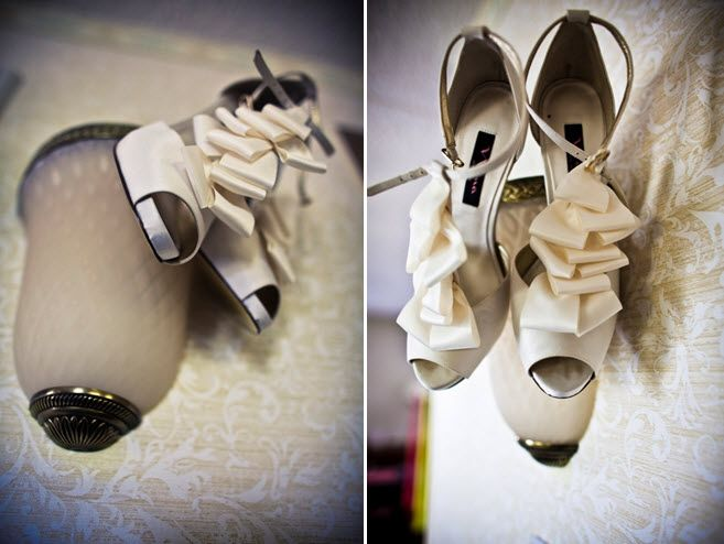 Artistic wedding photos- ivory peep-toe bridal heels with ruffle details