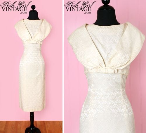 Structured ivory damask vintage cocktail dress from the 1950s