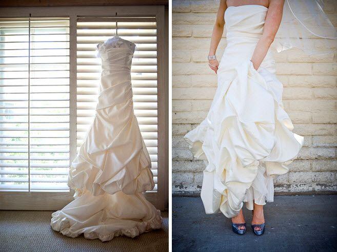 Bride wears ivory strapless classic wedding dress, shows off blue peep-toe bridal heels