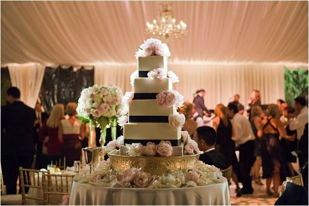 gorgeous-5-tier-white-wedding-cake-black-ribbon-detail-blush-pink-flowers