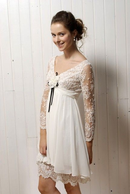 Vintageinspired ivory lace casual wedding dress with long sleeves and v