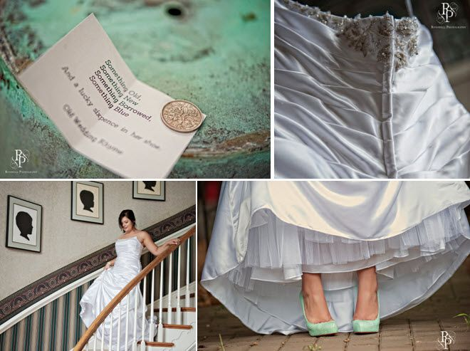 The bride carried a lucky sixpence with her down the aisle, donned a diamond white wedding dress and