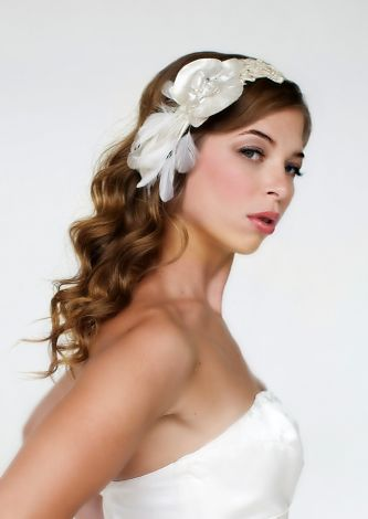 Chic and romantic ivory satin and feather bridal headband