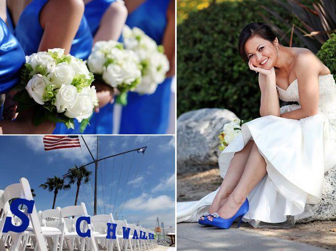 Bridesmaids wear royal blue dresses, clutch ivory fresh flower bouquets
