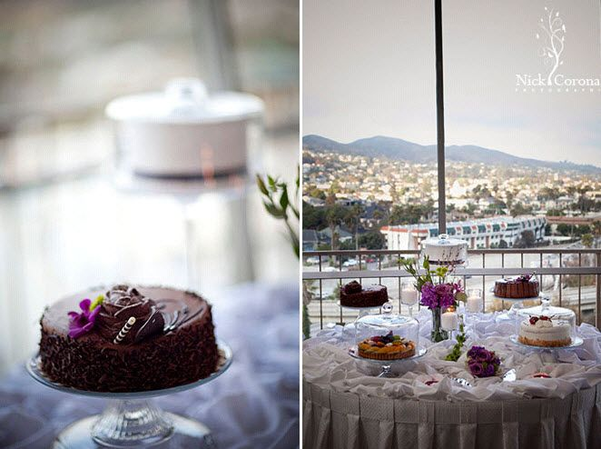Wedding reception dessert table with stunning views of Southern California