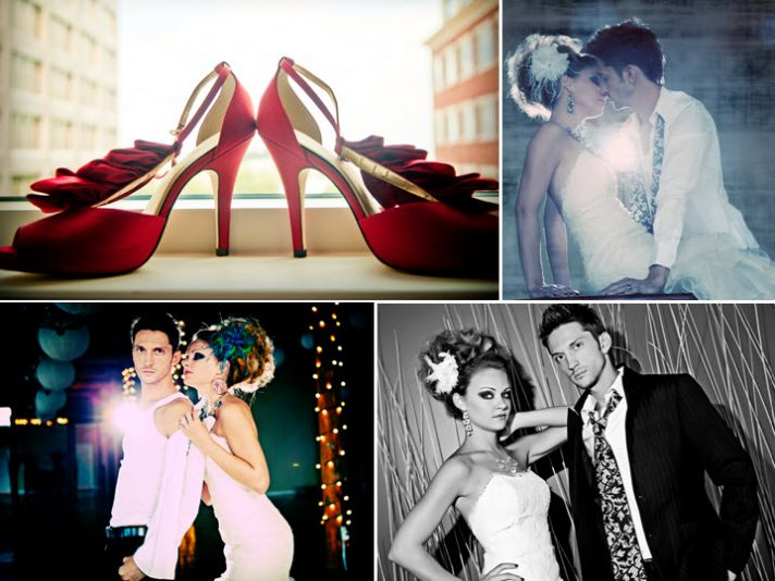 Lipstick red bridal heels with ruffle detail; edgy bride and groom kiss