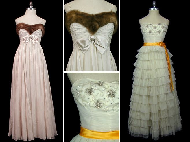 Mink-trimmed sweetheart neckline makes this vintage wedding dress perfect for a winter wedding