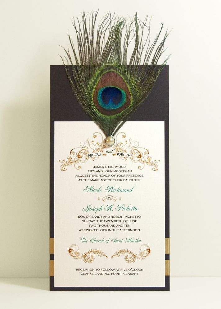 This retro wedding invitation is printed on linen paper with a peacock feather as its main style ele