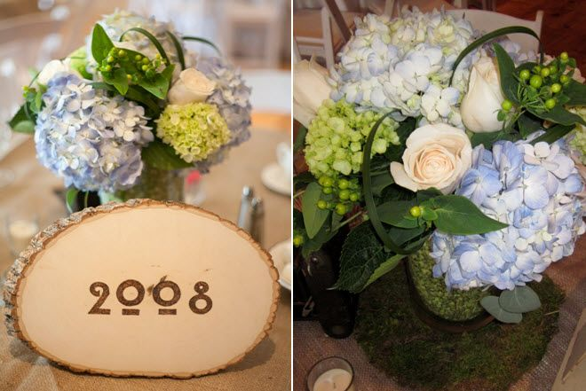 Organic floral centerpiece for wedding reception light blue hydrangeas